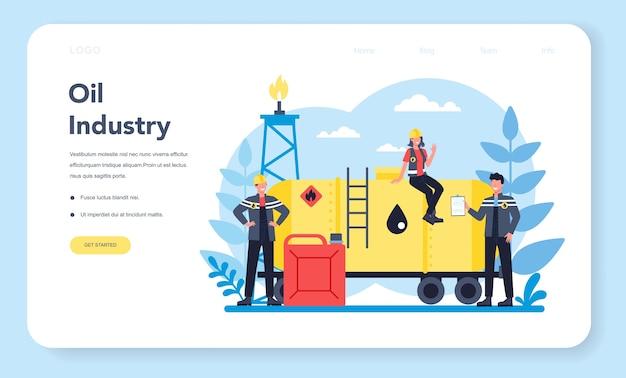 Banner web o pagina di destinazione del petroliere e dell'industria petrolifera