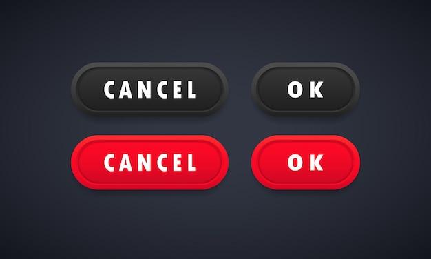 Ok e annulla il set di pulsanti web. pulsanti arrotondati con simboli per il web e il design dell'interfaccia utente. vettore su sfondo isolato. env 10.
