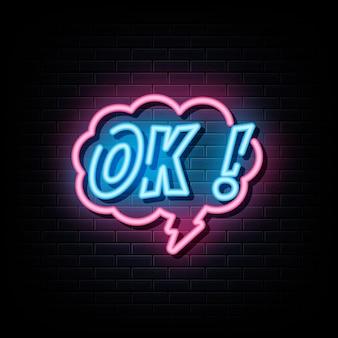 Ok segno al neon simbolo al neon