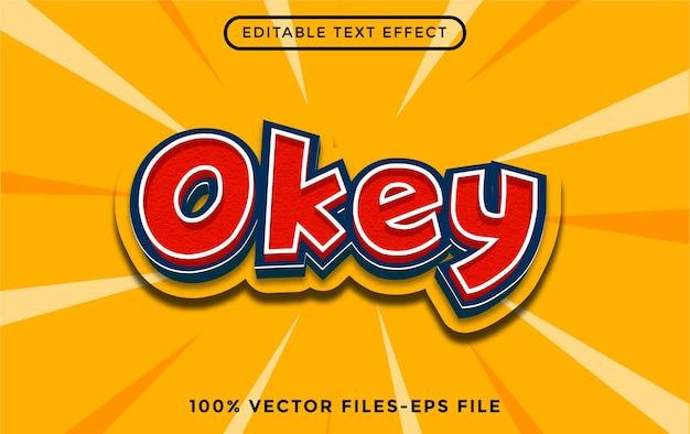 Okey vettori premium effetto testo modificabile dei cartoni animati