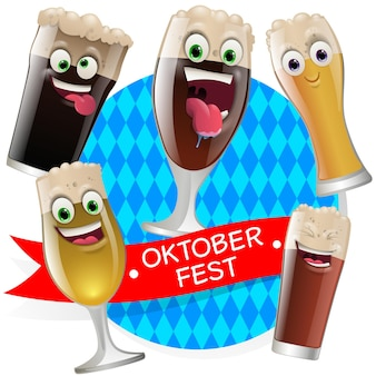 La birra dell'oktober fest affronta le maschere con la bocca e gli occhi degli alieni emoticon