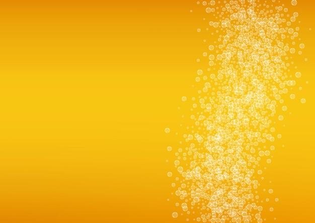 Sfondo dell'oktoberfest. schiuma di birra. spruzzata di birra artigianale. modello di banner ristorante. pinta di birra con bollicine bianche realistiche. bevanda liquida fresca per tazza arancione con oktoberfest.