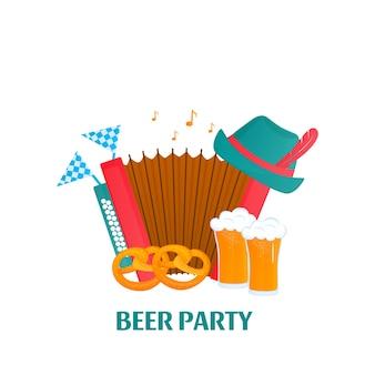 Oktoberfest - festa bavarese. banner con fisarmonica, bicchieri di birra, pretzel, cappello.