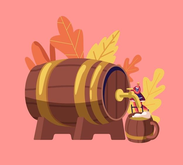Illustrazione piana del fumetto di concetto di festival bavarese di oktoberfest