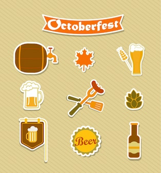 Set di icone birreria oktoberfest birra.