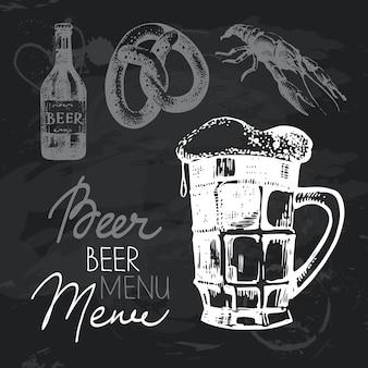Insieme di progettazione della lavagna disegnata a mano della birra dell'oktoberfest. texture gesso nero