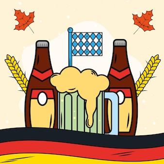 Birre e bandiera dell'oktoberfest