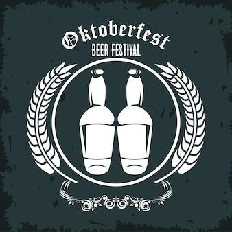 Manifesto del festival di celebrazione dell'oktoberfest con cornice di bottiglie e punte di birre.