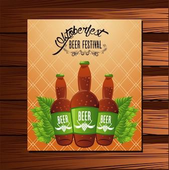 Manifesto del festival celebrazione oktoberfest con bottiglie di birra.