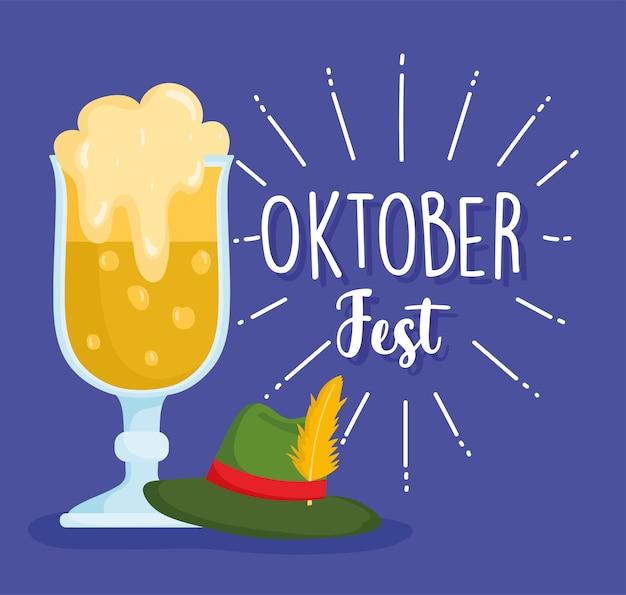 Festival dell'oktoberfest, birra e cappello verde, illustrazione tradizionale di celebrazione della germania