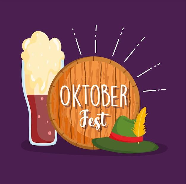 Festival dell'oktoberfest, cappello da birra con piuma e bandiera in legno, illustrazione tradizionale di celebrazione della germania
