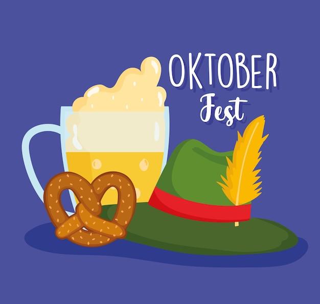Festival dell'oktoberfest, birra con cappello di schiuma e pretzel, illustrazione tradizionale di celebrazione della germania