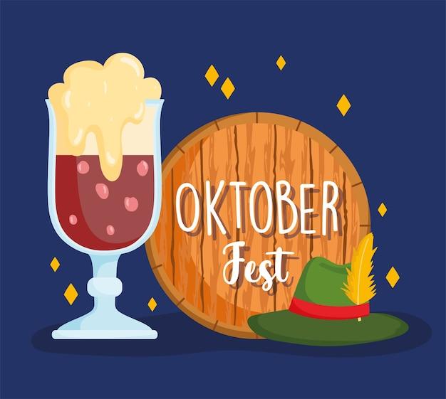 Festival dell'oktoberfest, cappello da birra nera e botte di legno, illustrazione tradizionale di celebrazione della germania