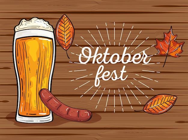 Celebrazione del festival oktoberfest con bicchiere di birra, sasage, foglie di autunno