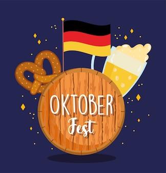 Festival dell'oktoberfest, birra di bandiera tedesca e pretzel, illustrazione tradizionale di celebrazione della germania