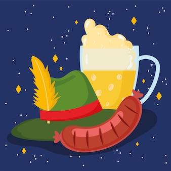 Festival dell'oktoberfest, birra alla salsiccia con schiuma e cappello, illustrazione tradizionale di celebrazione della germania