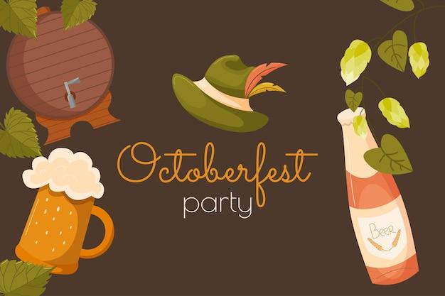 Fondo festivo dell'insegna dell'oktoberfest festival della birra dell'evento tedesco manifesto del modello della carta dell'invito