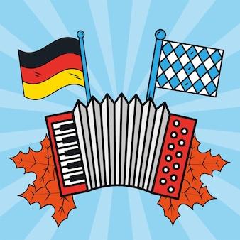 Bandiere e fisarmonica dell'oktoberfest