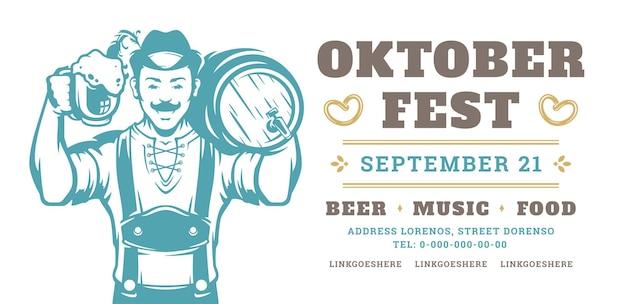 Volantino dell'oktoberfest o banner tipografia retrò modello vettoriale design willkommen zum invito celebrazione del festival della birra.