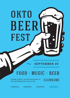 Oktoberfest flyer o poster tipografia retrò modello design festival della birra celebrazione illustrazione vettoriale