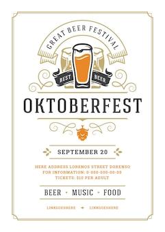 Volantino o poster dell'oktoberfest modello tipografia retrò design willkommen zum festival della birra celebrazione illustrazione vettoriale