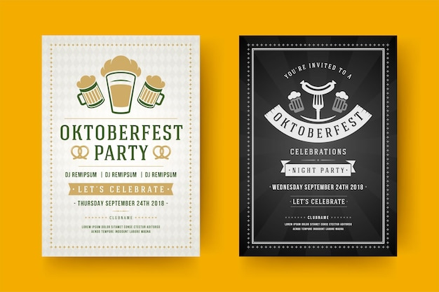 Volantini o poster dell'oktoberfest modelli di tipografia retrò willkommen zum festival della birra celebrazione illustrazione vettoriale