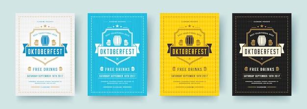 I volantini o i poster dell'oktoberfest modelli vettoriali di tipografia retrò progettano inviti per la celebrazione del festival della birra.