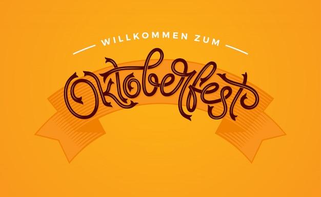 Tipografia manoscritta dell'oktoberfest. lettering oktoberfest per biglietti di auguri e poster. illustrazione. bandiera di vettore di beer festival. celebrazione del modello.