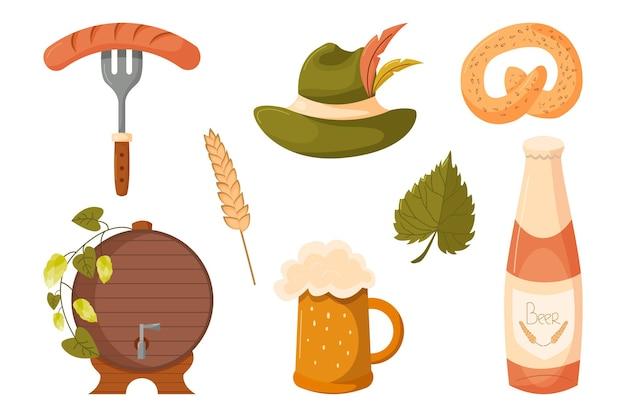 Set di elementi di design per le vacanze dell'oktoberfest con boccale di birra, bottiglia di salsiccia, cappello, barile di pretzel, ecc