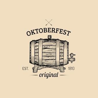 Etichetta oktoberfest. segno di festa della birra con botte di legno abbozzato a mano. distintivo del birrificio vintage. simbolo di wiesn.