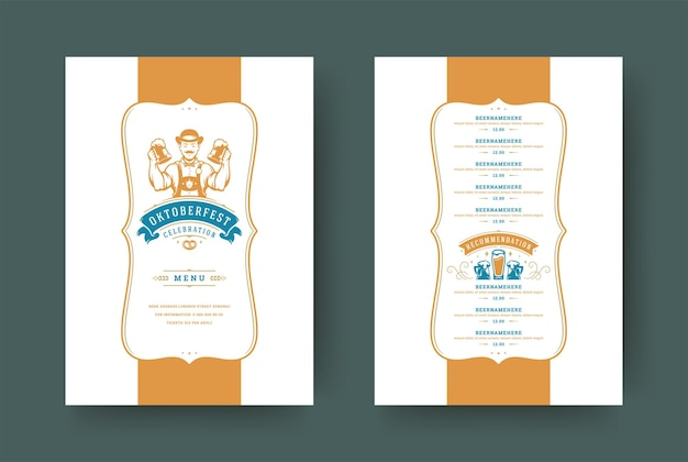 Modello di tipografia vintage del menu dell'oktoberfest con la celebrazione del festival della birra di copertura e l'illustrazione di vettore di progettazione dell'etichetta.