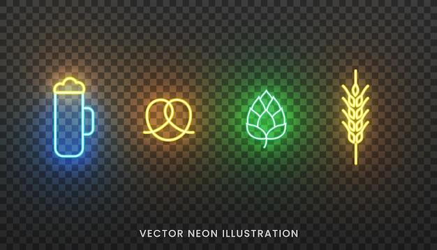 Icone al neon dell'oktoberfest. segno luminoso di bicchiere di birra, pretzel, luppolo e spiga di grano per l'oktoberfest.