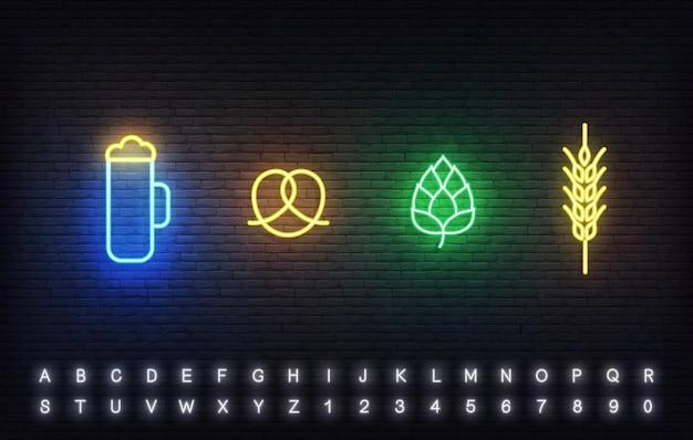 Modello di icone al neon dell'oktoberfest. segno luminoso di bicchiere di birra, pretzel, luppolo e spiga di grano per l'oktoberfest.