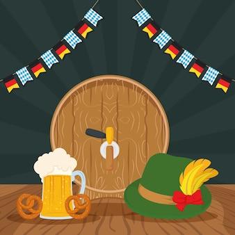 Celebrazione del partito oktoberfest con disegno di illustrazione vettoriale di barile di birra