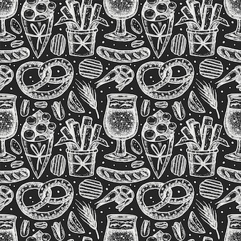Oktoberfest seamless pattern, chalk board design.