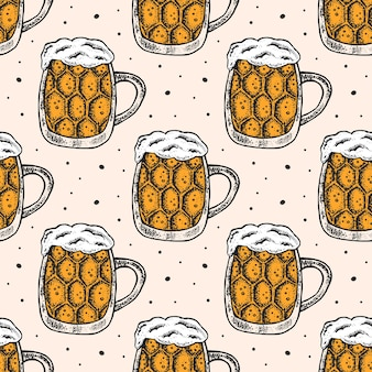 Oktoberfest seamless con un bicchiere di birra