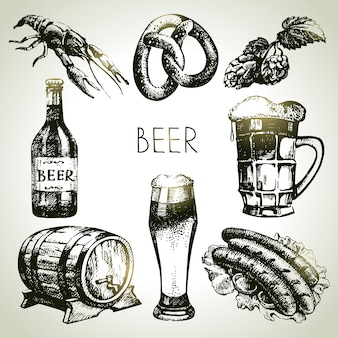 Set di birra dell'oktoberfest. illustrazioni disegnate a mano