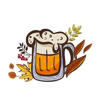 Adesivo a tema oktoberfest con un bicchiere di birra e foglie autunnali.