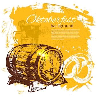 Sfondo vintage dell'oktoberfest. illustrazione disegnata a mano. menu di design retrò con splash blob di birra