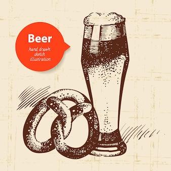 Sfondo vintage dell'oktoberfest. illustrazione disegnata a mano. design retrò con birra