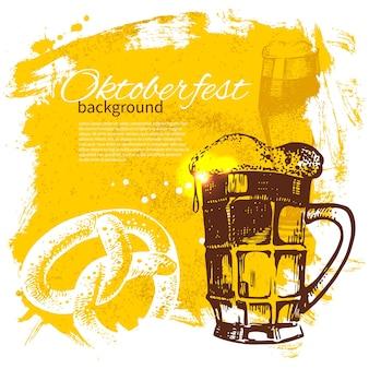 Sfondo vintage dell'oktoberfest. illustrazione disegnata a mano. splash blob design retrò con birra