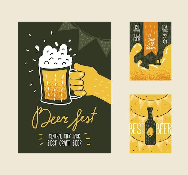 Oktoberfest vintage design con bottiglia e bicchiere