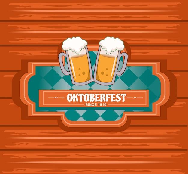 Oktoberfest con sfondo in stile legno