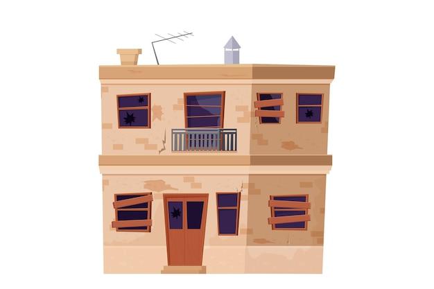 Vecchia casa abbandonata edificio in stile cartone animato isolato su bianco
