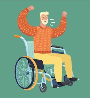 Vecchio arrabbiato seduto su una sedia a rotelle