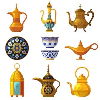 Antico patrimonio arabo. ceramiche decorate culturali tradizionali con loghi simboli sauditi insieme dell'arabia vettoriale. illustrazione di ceramica araba, argilla tradizionale antica