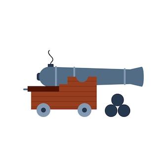 Vecchio cannone dell'artiglieria con l'illustrazione piana di vettore delle palle di cannone isolata