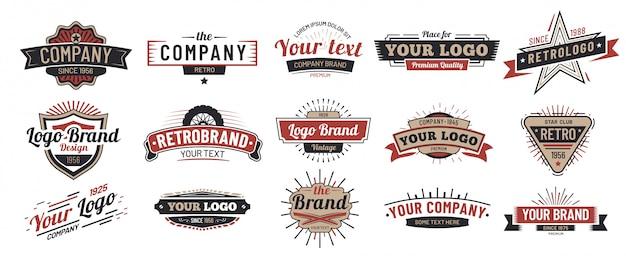Vecchi distintivi. insieme del segno dell'annata, retro distintivo premium e logo emblema