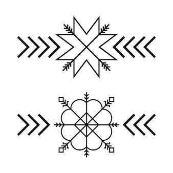 Vecchio simbolo folk baltico del fiocco di neve della stella o del fiore.