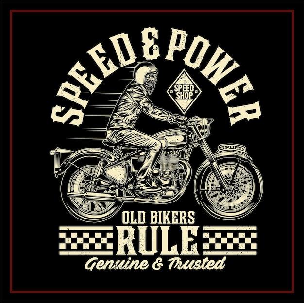 Illustrazione di regola dei vecchi motociclisti